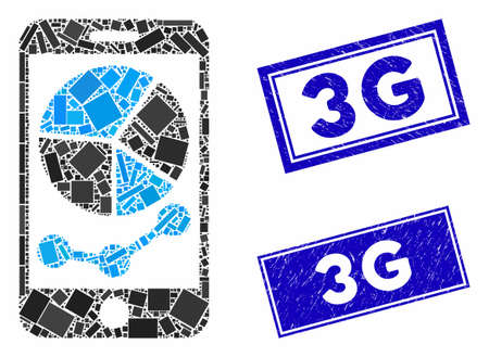 Mosaic mobile graphs icon and rectangular seals. Flat vector mobile graphs mosaic icon of random rotated rectangle elements. Blue caption rubber seals with distress texture.