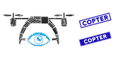 Mosaic video spy drone icon and rectangular seal stamps. Flat vector video spy drone mosaic pictogram of random rotated rectangular items. Blue caption rubber stamps with rubber surface.