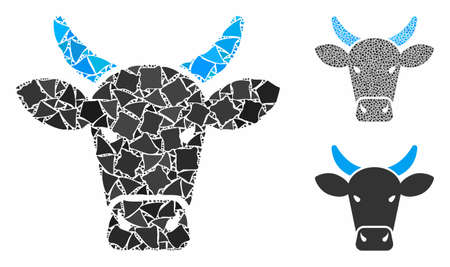 Cow composition of humpy elements in variable sizes and shades, based on cow icon. Vector inequal elements are united into illustration. Cow icons collage with dotted pattern. Illustration