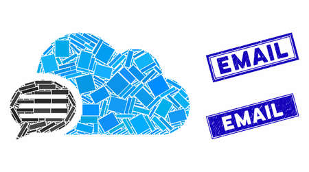 Mosaic message icon and rectangle seal stamps. Flat vector message mosaic pictogram of random rotated rectangle items. Blue caption seal stamps with distress texture. Standard-Bild - 133637941
