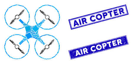 Mosaic air copter pictogram and rectangular seal stamps. Flat vector air copter mosaic pictogram of random rotated rectangle items. Blue caption seal stamps with grunge texture. 스톡 콘텐츠 - 133573034