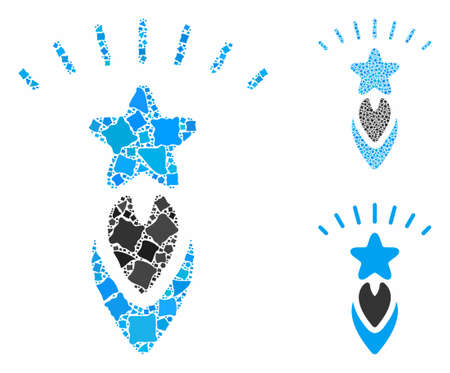 Starting star composition of raggy parts in different sizes and color tinges, based on starting star icon. Vector uneven parts are organized into collage. Ilustrace