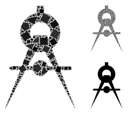 Compasses mosaic of rough pieces in variable sizes and color tones, based on compasses icon. Vector trembly pieces are united into mosaic. Compasses icons collage with dotted pattern.
