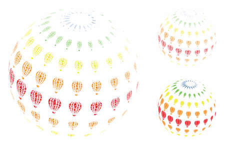 Abstract aerostat sphere composition of humpy pieces in different sizes and color hues, based on abstract aerostat sphere icon. Vector uneven pieces are organized into collage.