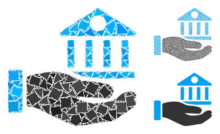 Bank building service hand composition of trembly items in different sizes and color tones, based on bank building service hand icon. Vector unequal pieces are grouped into composition.