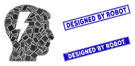 Mosaic brainstorming icon and rectangular stamps. Flat vector brainstorming mosaic icon of random rotated rectangular elements. Blue caption seal stamps with scratched texture.