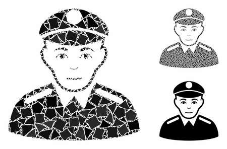Soldier composition of unequal elements in different sizes and color hues, based on soldier icon. Vector joggly elements are combined into collage. Soldier icons collage with dotted pattern.