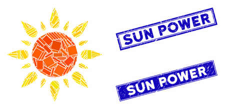Mosaic sun light icon and rectangular seal stamps. Flat vector sun light mosaic icon of random rotated rectangular items. Blue caption rubber stamps with dirty surface.