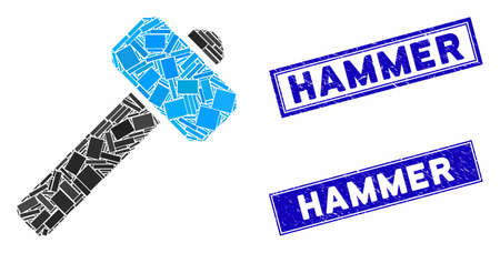 Mosaic hammer icon and rectangle rubber prints. Flat vector hammer mosaic pictogram of randomized rotated rectangle elements. Blue caption stamp imprints with rubber texture.