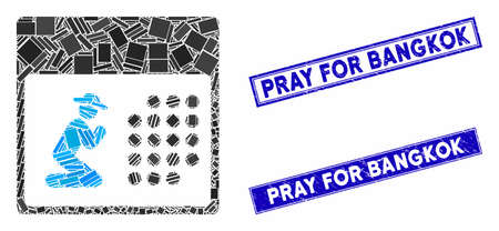 Mosaic pray calendar pictogram and rectangle seal stamps. Flat vector pray calendar mosaic pictogram of scattered rotated rectangle items. Blue caption seal stamps with dirty surface.