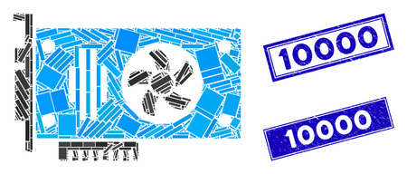 Mosaic videocard pictogram and rectangular stamps. Flat vector videocard mosaic icon of randomized rotated rectangular elements. Blue caption stamps with distress texture. Illustration
