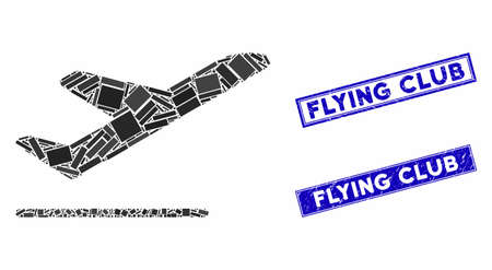 Mosaic airplane departure pictogram and rectangular seal stamps. Flat vector airplane departure mosaic icon of randomized rotated rectangular elements. Blue caption seal stamps with scratched surface.