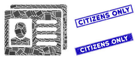 Mosaic user account cards icon and rectangular seal stamps. Flat vector user account cards mosaic pictogram of scattered rotated rectangular items. Blue caption rubber stamps with distress textures.