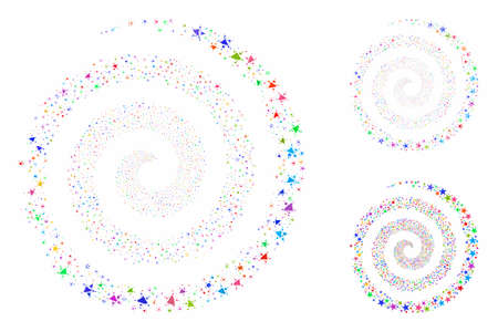 Star fireworks spiral composition of inequal parts in different sizes and shades, based on star fireworks spiral icon. Vector irregular parts are united into collage. Foto de archivo - 133628267