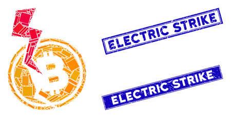 Mosaic Bitcoin crash lightning pictogram and rectangle seals. Flat vector Bitcoin crash lightning mosaic pictogram of random rotated rectangle elements.