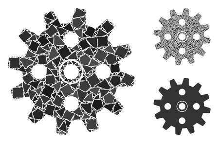 Cogwheel composition of inequal items in different sizes and color tones, based on cogwheel icon. Vector abrupt elements are combined into composition. Cogwheel icons collage with dotted pattern.  イラスト・ベクター素材