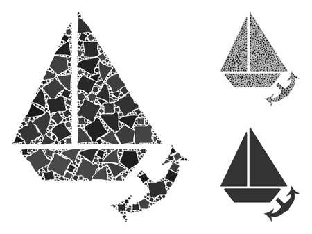 Seaport composition of ragged pieces in various sizes and color tones, based on seaport icon. Vector ragged dots are composed into composition. Seaport icons collage with dotted pattern.