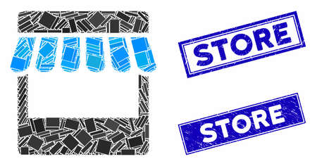 Mosaic store icon and rectangle seals. Flat vector store mosaic pictogram of scattered rotated rectangle elements. Blue caption rubber seals with distress surface.