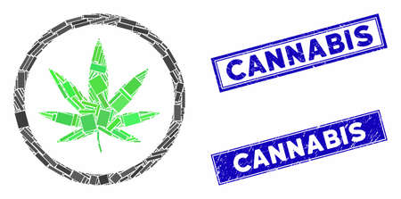 Mosaic cannabis pictogram and rectangle stamps. Flat vector cannabis mosaic pictogram of random rotated rectangle items. Blue caption rubber seals with rubber surface.