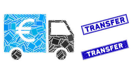 Mosaic Euro truck icon and rectangle watermarks. Flat vector Euro truck mosaic icon of randomized rotated rectangle elements. Blue caption rubber stamps with rubber texture.