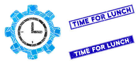 Mosaic time setup gear icon and rectangular stamps. Flat vector time setup gear mosaic icon of scattered rotated rectangular elements. Blue caption seal stamps with dirty surface.