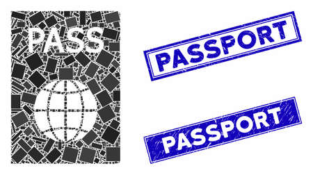 Mosaic passport icon and rectangular seal stamps. Flat vector passport mosaic icon of randomized rotated rectangle elements. Blue caption seal stamps with scratched texture.