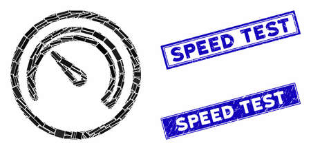 Mosaic speedometer pictogram and rectangular rubber prints. Flat vector speedometer mosaic pictogram of randomized rotated rectangular items. Blue caption rubber stamps with scratched texture. Standard-Bild - 133637966