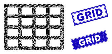 Mosaic grid icon and rectangular watermarks. Flat vector grid mosaic icon of randomized rotated rectangle elements. Blue caption watermarks with rubber surface. Standard-Bild - 133638002