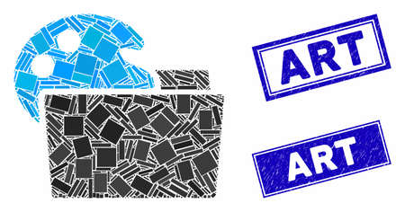 Mosaic open palette folder pictogram and rectangle stamps. Flat vector open palette folder mosaic pictogram of randomized rotated rectangular elements. Blue caption rubber stamps with rubber surface. Standard-Bild - 133638174