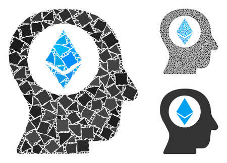 Ethereum mind mosaic of raggy elements in various sizes and shades, based on Ethereum mind icon. Vector irregular elements are combined into mosaic. Ethereum mind icons collage with dotted pattern. Ilustracja