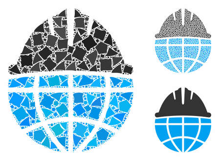 Global helmet mosaic of humpy elements in various sizes and shades, based on global helmet icon. Vector unequal elements are combined into composition. Global helmet icons collage with dotted pattern.