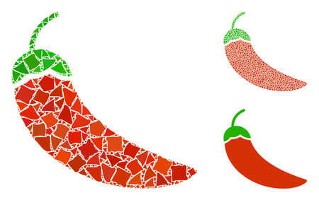 Chili pepper mosaic of raggy elements in various sizes and shades, based on chili pepper icon. Vector bumpy elements are grouped into mosaic. Chili pepper icons collage with dotted pattern.