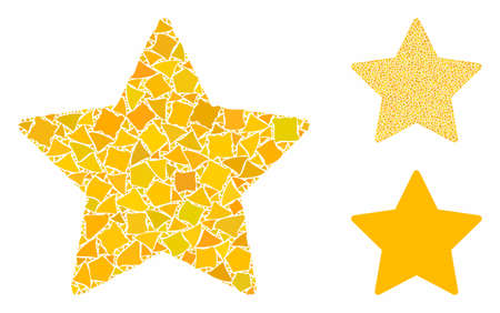 Gold star composition of inequal parts in various sizes and color tinges, based on gold star icon. Vector trembly parts are grouped into composition. Gold star icons collage with dotted pattern.