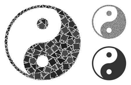 Yin yang mosaic of tuberous items in variable sizes and shades, based on yin yang icon. Vector uneven items are grouped into mosaic. Yin yang icons collage with dotted pattern.