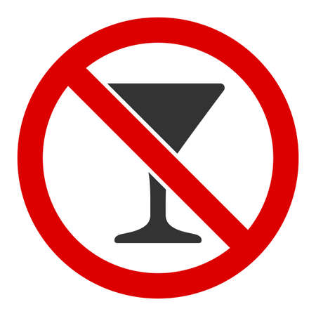 No martini glass raster icon. Flat No martini glass symbol is isolated on a white background.