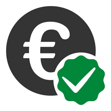 Euro only raster icon. Flat Euro only symbol is isolated on a white background.