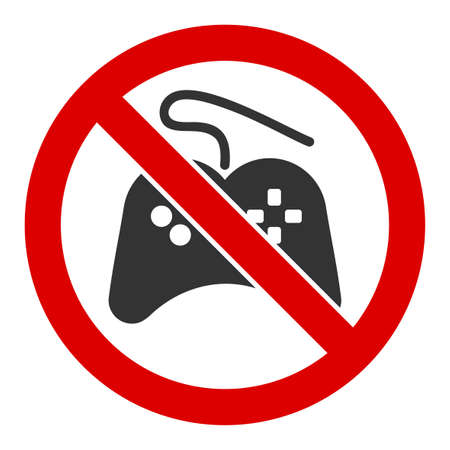 No gamepad raster icon. Flat No gamepad pictogram is isolated on a white background.