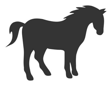 Horse raster icon. Flat Horse symbol is isolated on a white background. Banco de Imagens