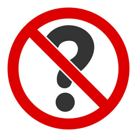 No questions raster icon. Flat No questions symbol is isolated on a white background.