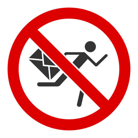 No mail courier raster icon. Flat No mail courier pictogram is isolated on a white background.