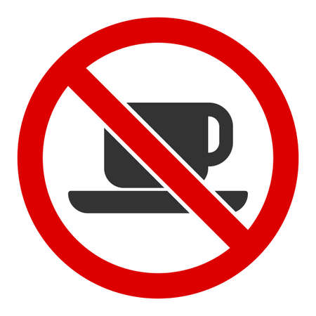 No tea cup raster icon. Flat No tea cup pictogram is isolated on a white background.