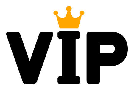 VIP raster icon. Flat VIP pictogram is isolated on a white background.