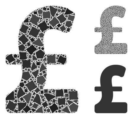 Pound Sterling composition of raggy pieces in variable sizes and color hues, based on Pound Sterling icon. Vector raggy pieces are composed into composition.
