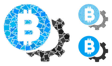 Bitcoin options gear composition of uneven pieces in different sizes and shades, based on Bitcoin options gear icon. Vector uneven pieces are united into illustration.
