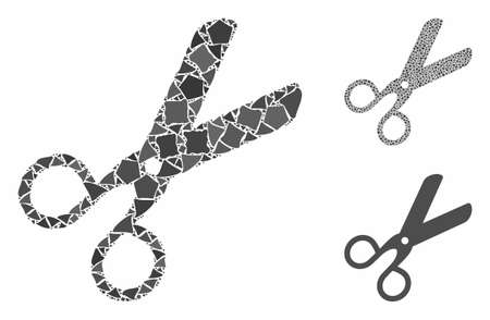 Scissors composition of abrupt pieces in variable sizes and color tones, based on scissors icon. Vector rugged pieces are organized into composition. Scissors icons collage with dotted pattern.