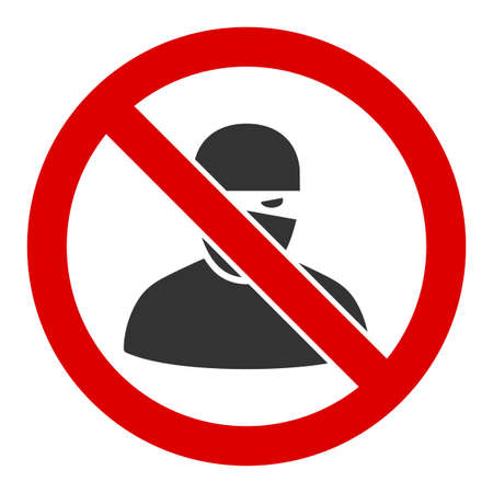 No ninja raster icon. Flat No ninja symbol is isolated on a white background. Reklamní fotografie