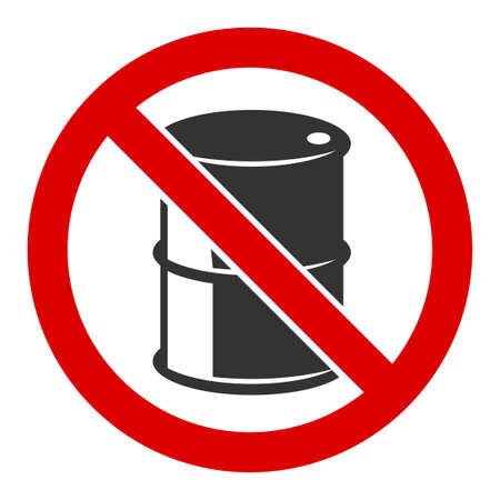 No barrel raster icon. Flat No barrel pictogram is isolated on a white background.