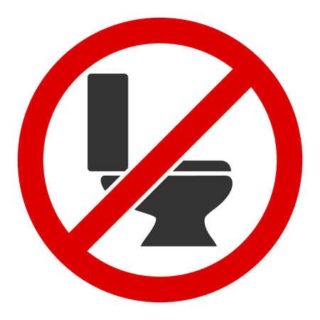 No toilet bowl raster icon. Flat No toilet bowl symbol is isolated on a white background.
