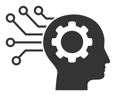 Artificial mind raster icon. Flat Artificial mind pictogram is isolated on a white background. Фото со стока