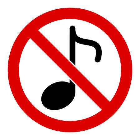 No music note raster icon. Flat No music note symbol is isolated on a white background.